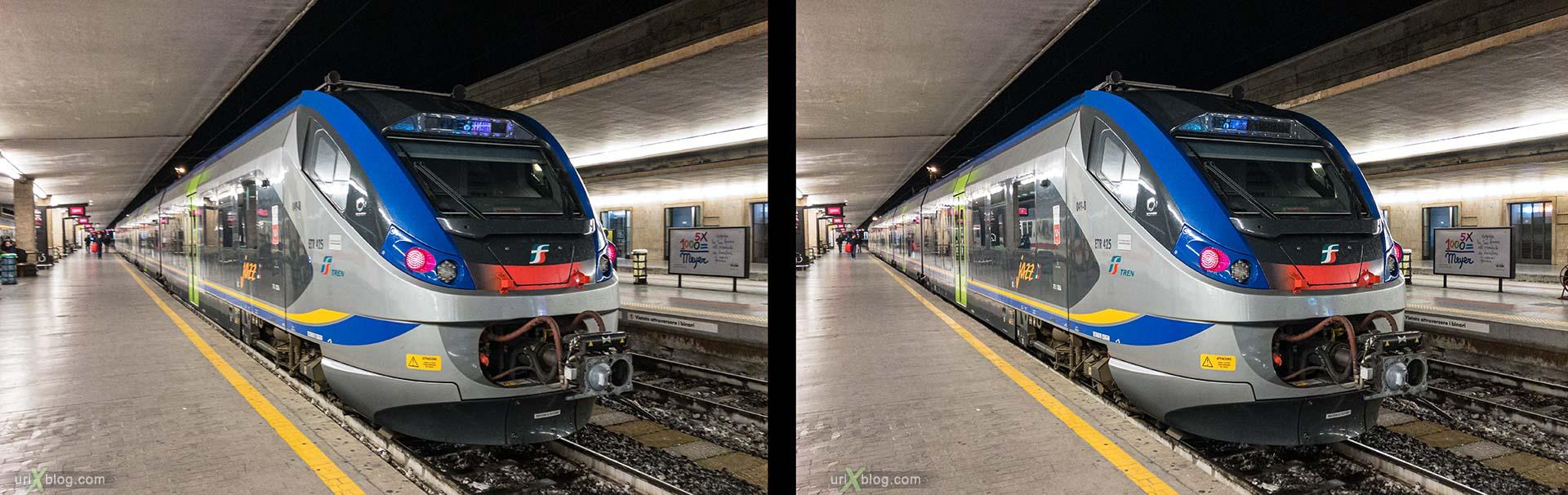 Santa Maria Novella, Флоренция, жд вокзал, поезд, электровоз, Италия, 3D, перекрёстная стереопара, стерео, стереопара