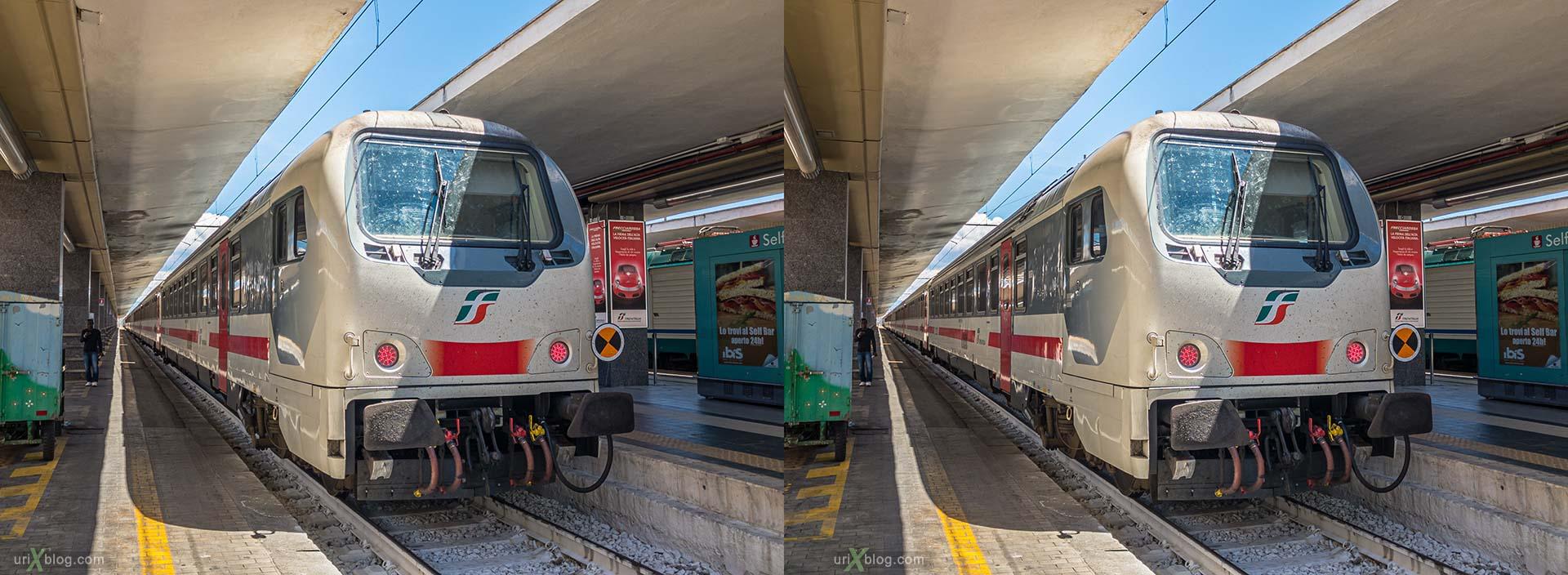 Napoli Centrale, Неаполь, жд вокзал, поезд, электровоз, Италия, 3D, перекрёстная стереопара, стерео, стереопара