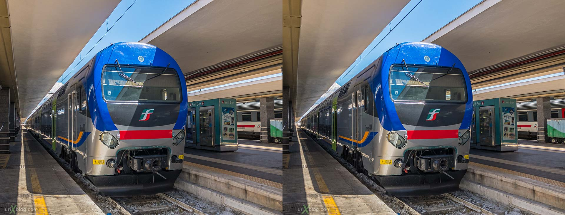 Napoli Centrale, Naples, train station, train, electric locomotive, Italy, 3D, stereo pair, cross-eyed, crossview, cross view stereo pair, stereoscopic