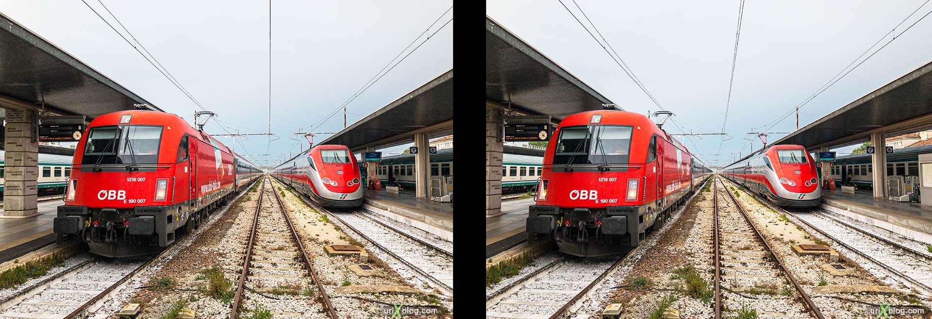 Venezia Santa Lucia, Венеция, жд вокзал, поезд, электровоз, Италия, 3D, перекрёстная стереопара, стерео, стереопара