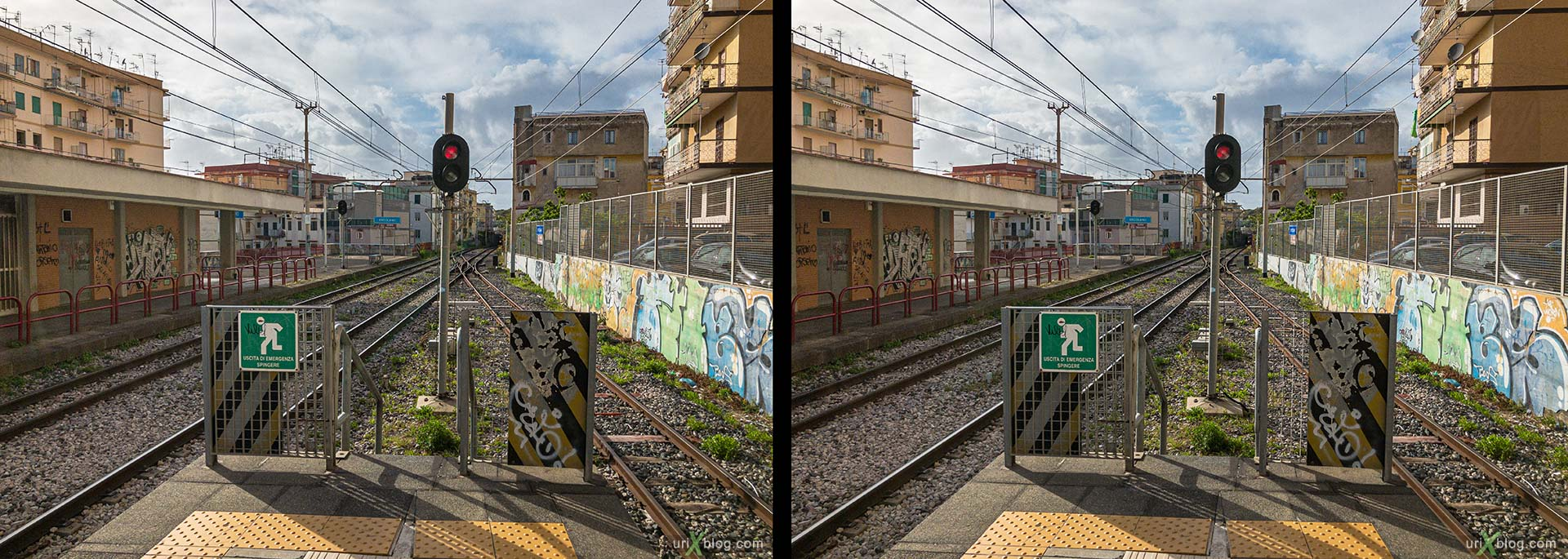 Ercolano, station, Pompei, Italy, 3D, stereo pair, cross-eyed, crossview, cross view stereo pair, stereoscopic