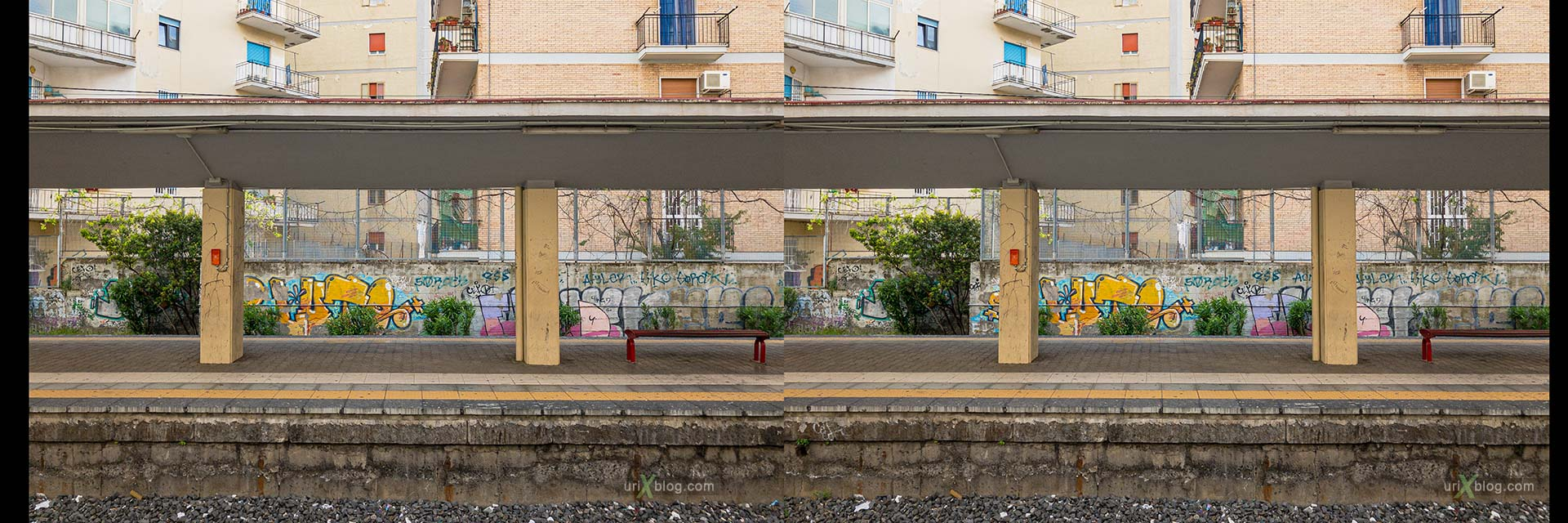 Ercolano, станция, Италия, 3D, перекрёстная стереопара, стерео, стереопара