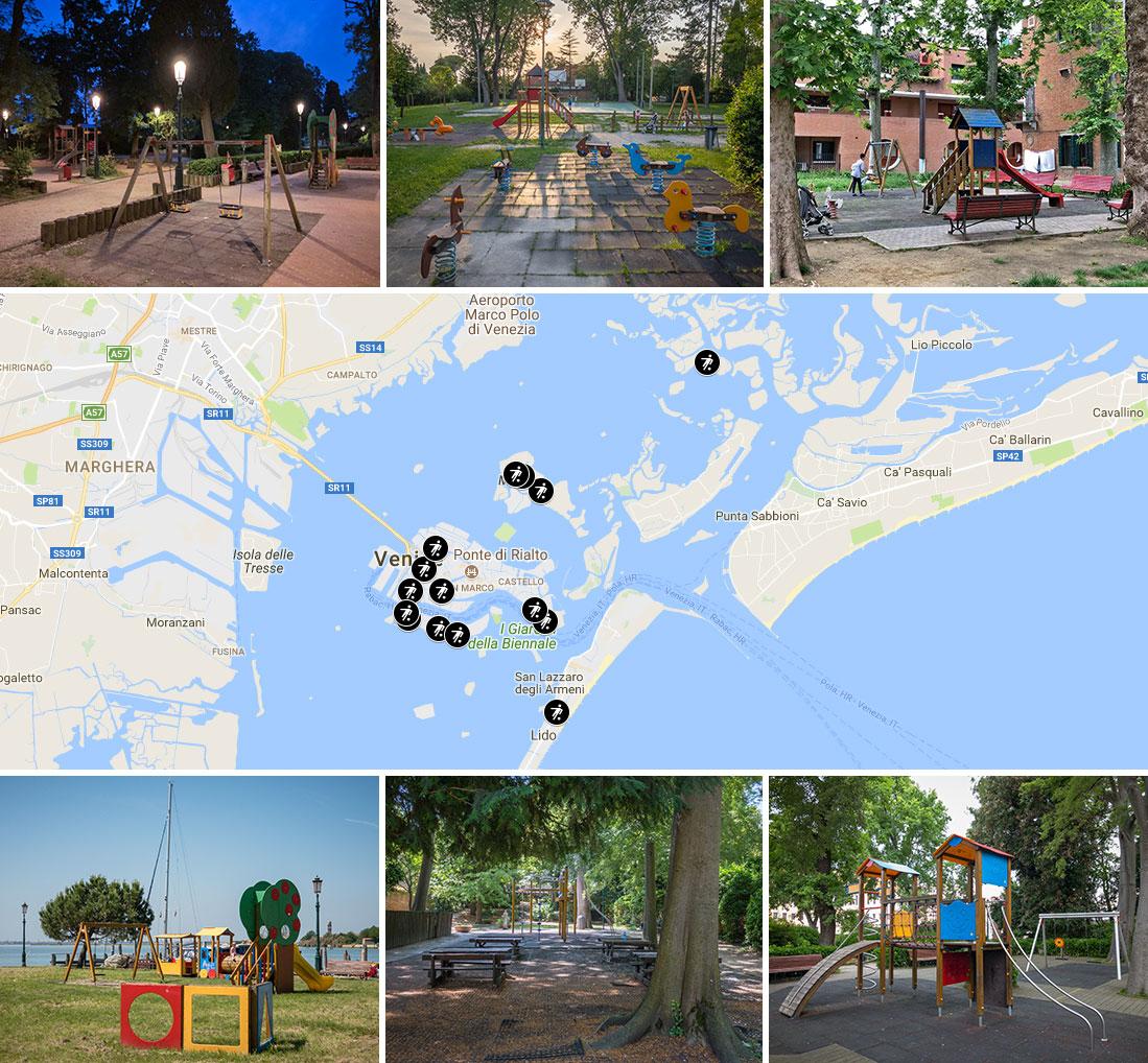 Детские площадки Венеции - карта