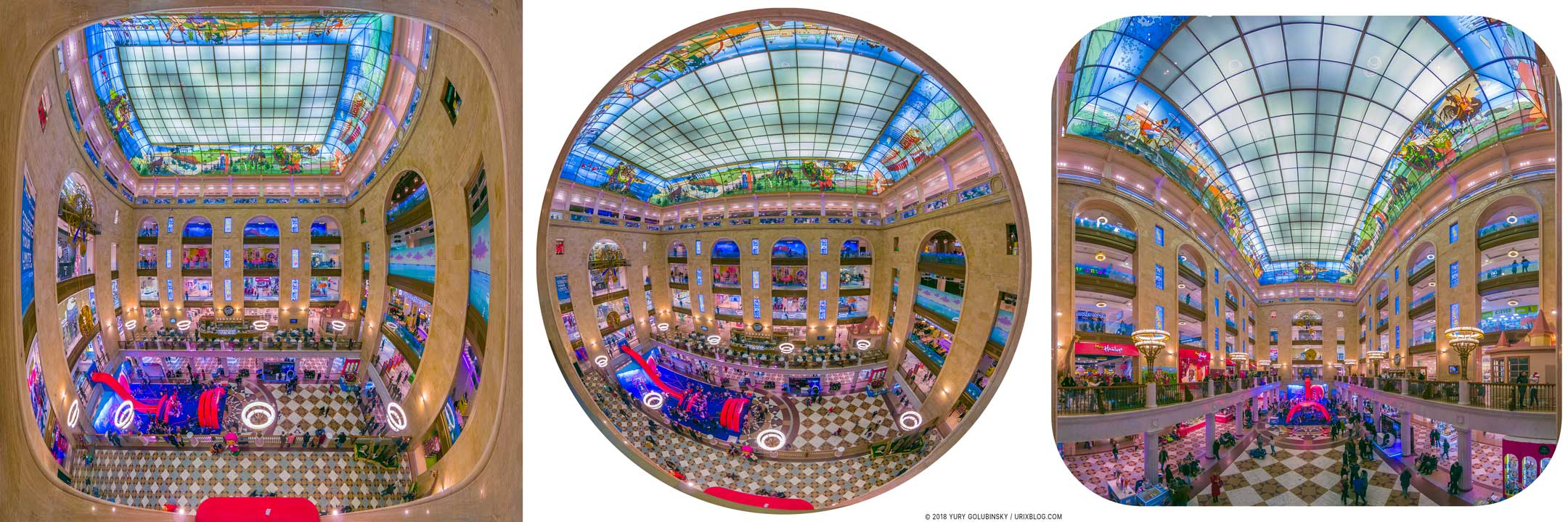 TsDM, Central Children's Store, shop, Lubyanka, panorama, fisheye, SJCAM, SJ8Pro, RAW, 2018, Moscow, Russia