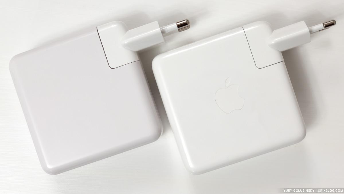 блок питания, адаптер питания, MacBook Pro 2018, 87 ватт, 87 Вт, USB type C, USB-C, Apple, китайский, сравнение, обзор