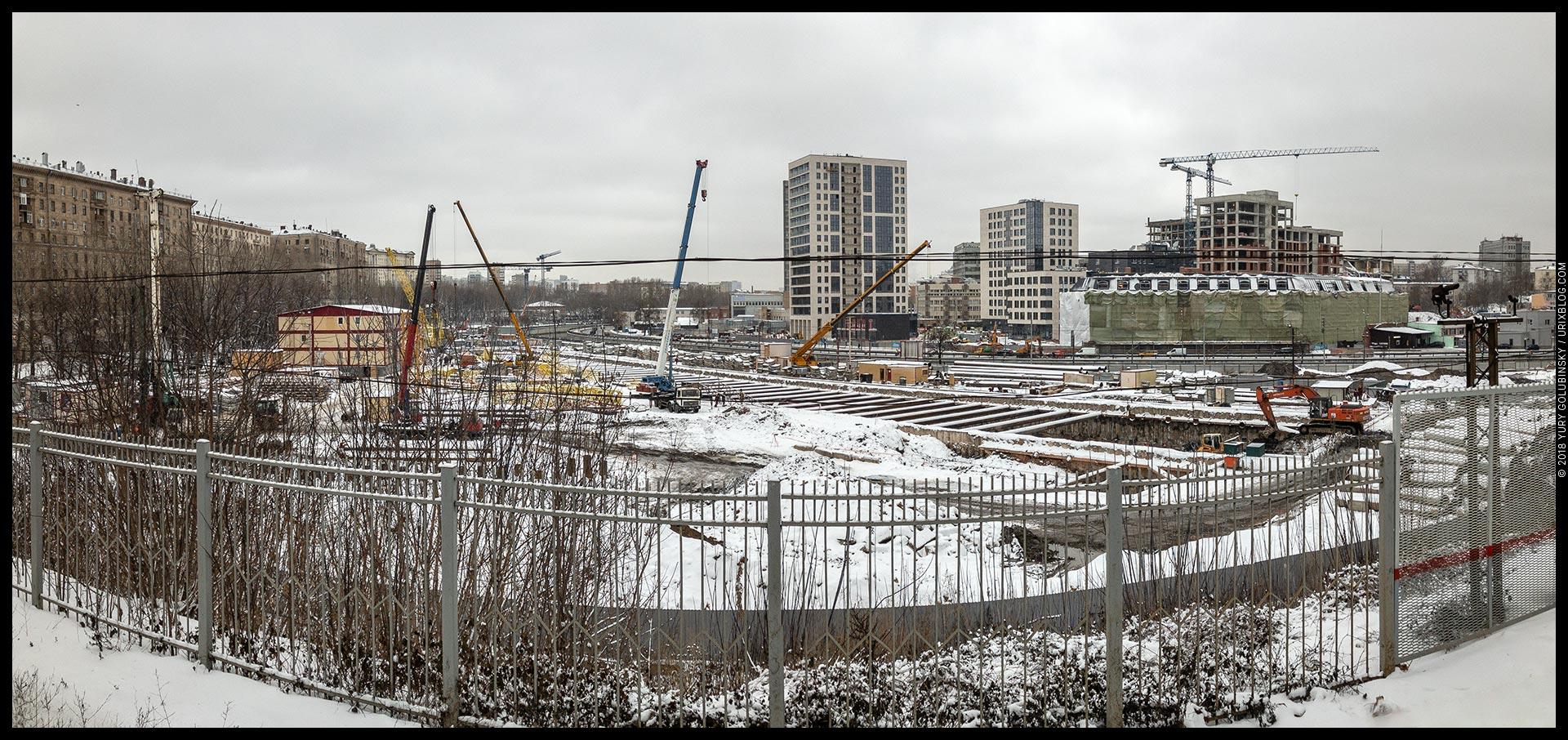 станция метро, Электрозаводская, котлован, зима, снег, Москва, Россия, панорама
