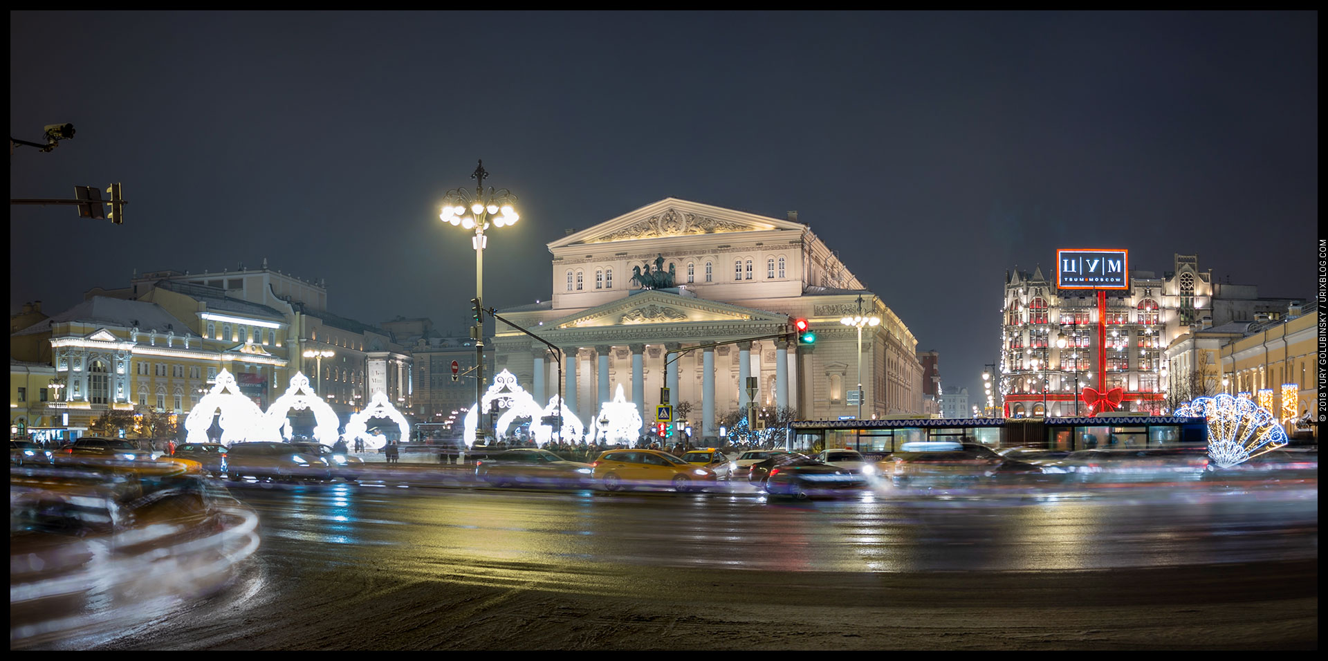 Teatralnaya square, Bolshoy theater, TsUM, panorama, new year, winter, snow, Moscow, Russia