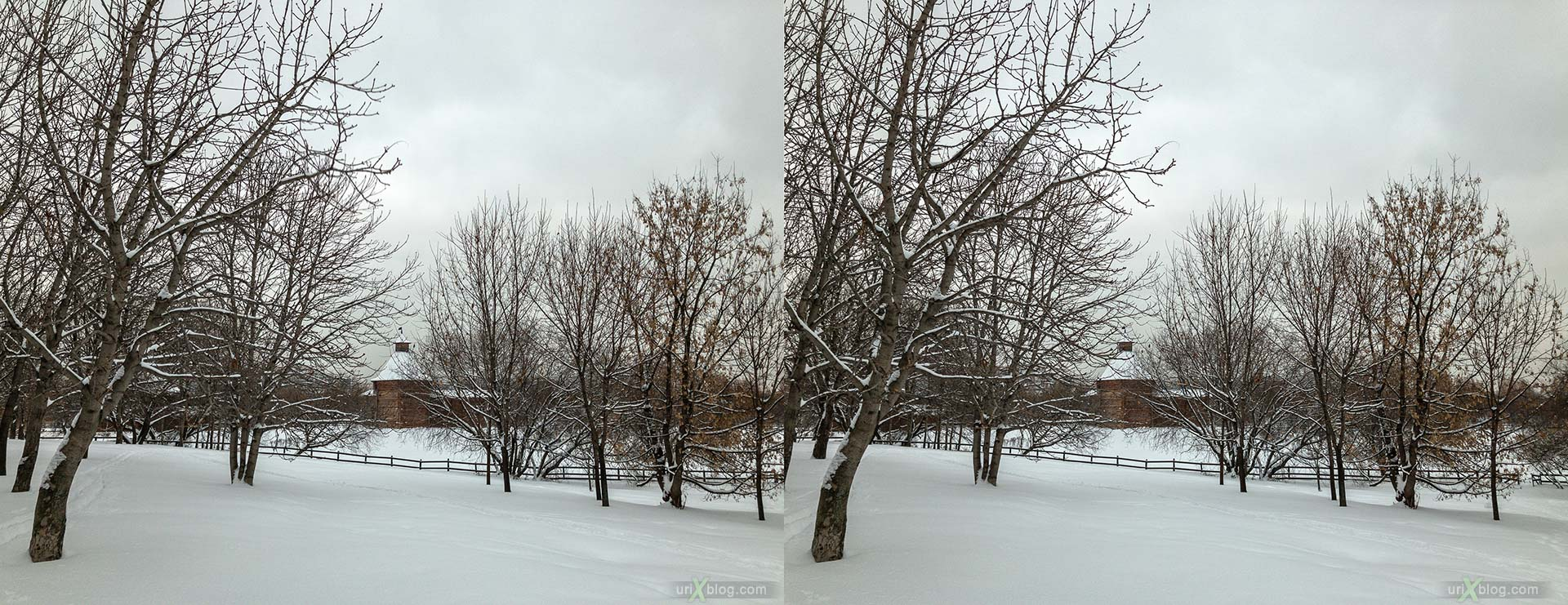 Russian Wooden Architecture, Mokhovaya (Moss) tower, Kolomenskoye, park, wooden building, winter, snow, Moscow, Russia, 3D, stereo pair, cross-eyed, crossview, cross view stereo pair, stereoscopic