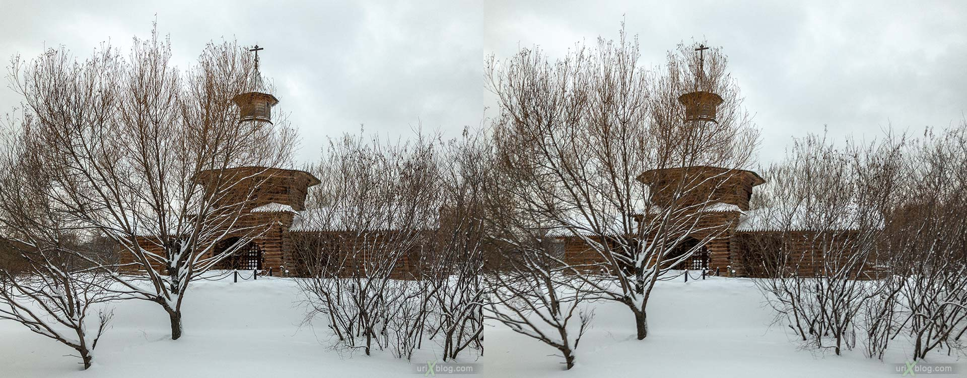 Russian Wooden Architecture, tower of the Nikolo-Korelsky monastery, Kolomenskoye, park, wooden building, winter, snow, Moscow, Russia, 3D, stereo pair, cross-eyed, crossview, cross view stereo pair, stereoscopic