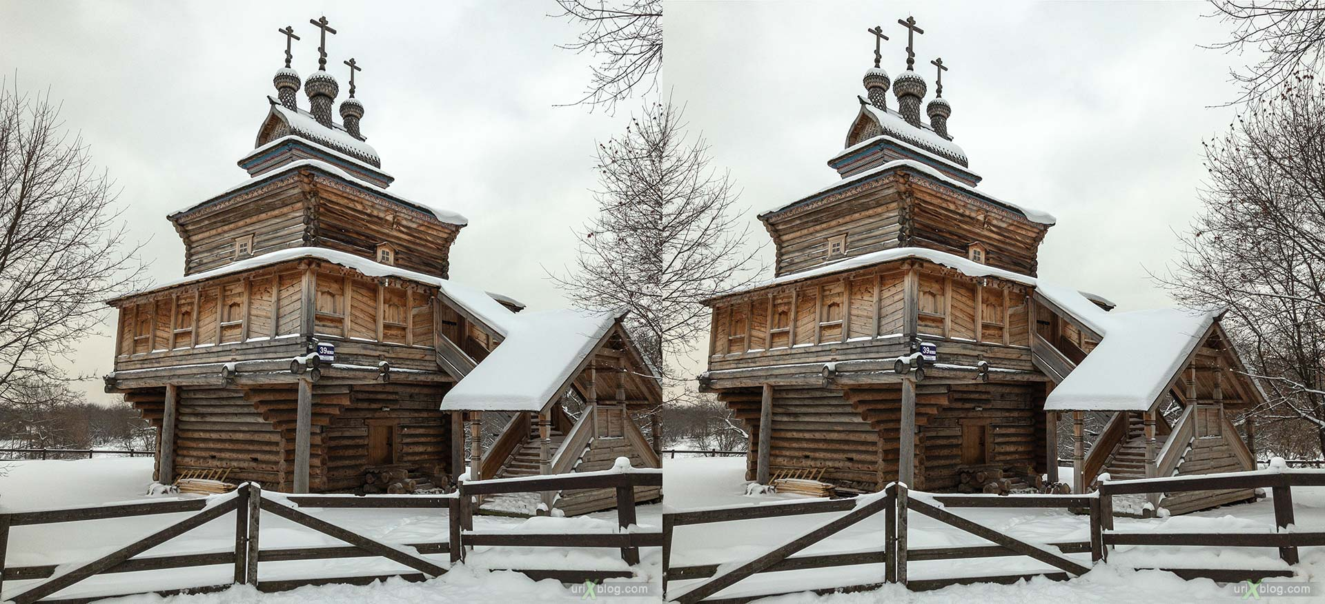 Russian Wooden Architecture, St George Church, Kolomenskoye, park, wooden building, winter, snow, Moscow, Russia, 3D, stereo pair, cross-eyed, crossview, cross view stereo pair, stereoscopic