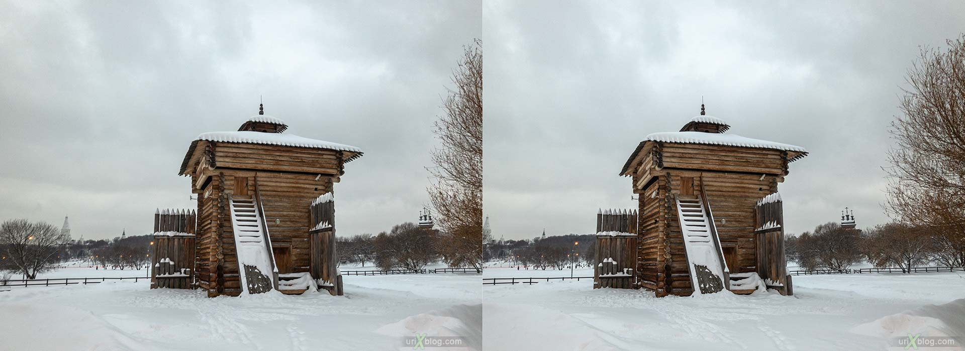 Russian Wooden Architecture, Tower of Bratsk prison, Kolomenskoye, park, wooden building, winter, snow, Moscow, Russia, 3D, stereo pair, cross-eyed, crossview, cross view stereo pair, stereoscopic