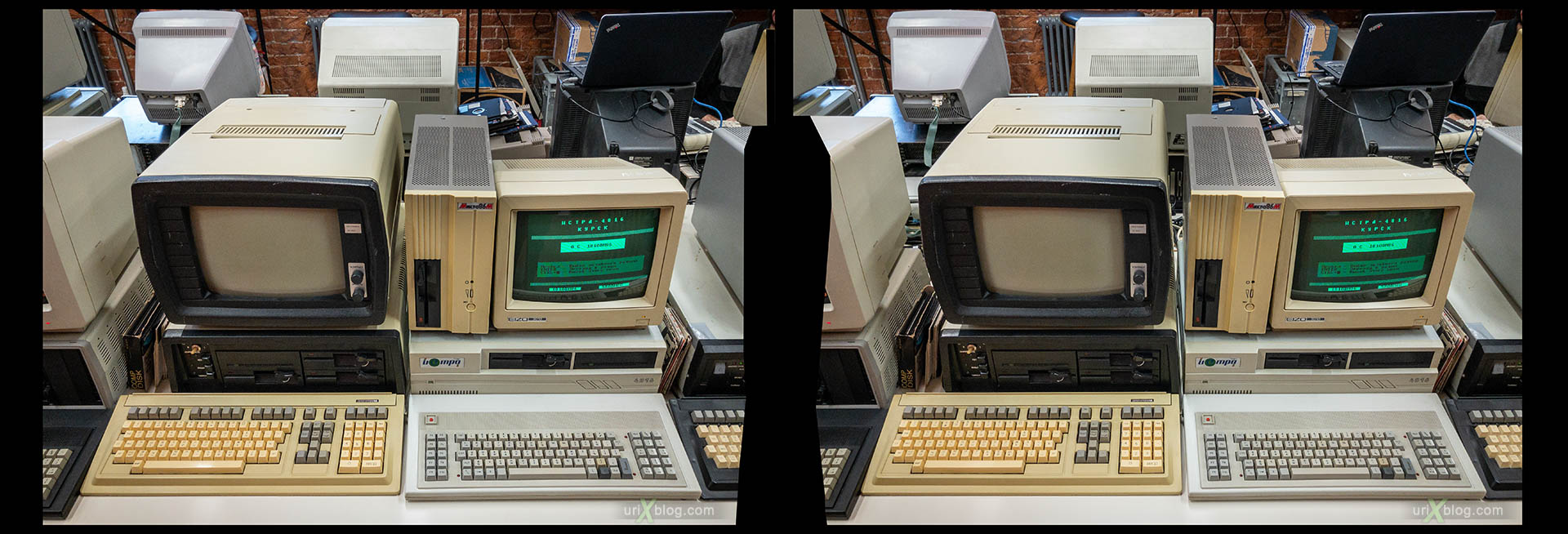 Yandex Store and Museum, old retro personal computers, Soviet, PC, Moscow, Russia, 3D, stereo pair, cross-eyed, crossview, cross view stereo pair, stereoscopic