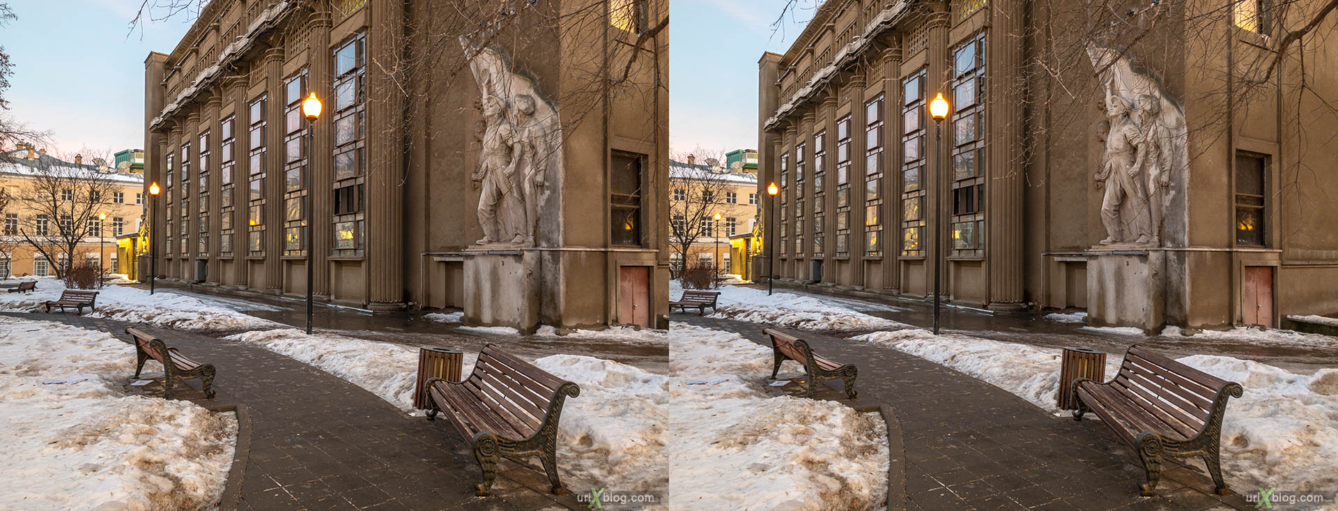 Moscow Builders Square, T-3 Moscow Metro Central Traction Substation, Bolshaya Nikitskaya street, Moscow, Russia, 3D, stereo pair, cross-eyed, crossview, cross view stereo pair, stereoscopic