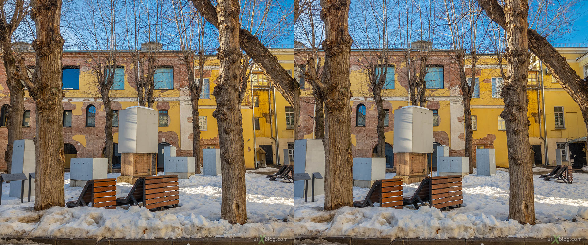 Architecture Museum, Moscow, Russia, 3D, stereo pair, cross-eyed, crossview, cross view stereo pair, stereoscopic