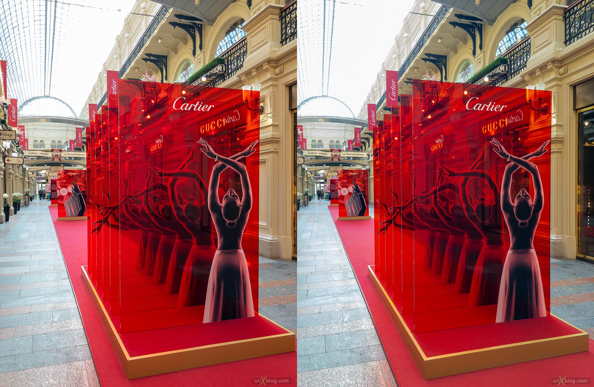 Cartier, GUM store, Moscow, Russia, 3D, stereo pair, cross-eyed, crossview, cross view stereo pair, stereoscopic