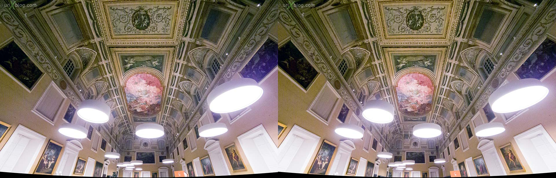 The Hall of the Sundial, ceiling, lamps, painting, National Archaeological Museum of Naples, ancient Rome, Pompei, exhibition, Naples, Italy, 3D, stereo pair, cross-eyed, crossview, cross view stereo pair, stereoscopic