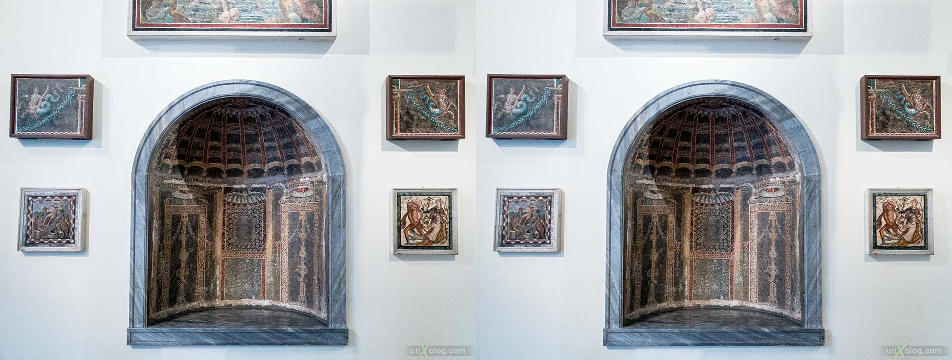 frescoes, mosaics, National Archaeological Museum of Naples, ancient Rome, Pompei, exhibition, Naples, Italy, 3D, stereo pair, cross-eyed, crossview, cross view stereo pair, stereoscopic