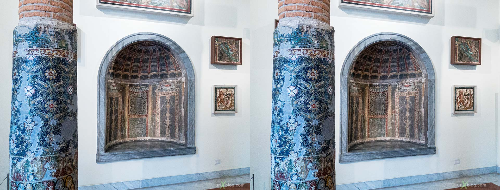 mosaics, National Archaeological Museum of Naples, ancient Rome, Pompei, exhibition, Naples, Italy, 3D, stereo pair, cross-eyed, crossview, cross view stereo pair, stereoscopic