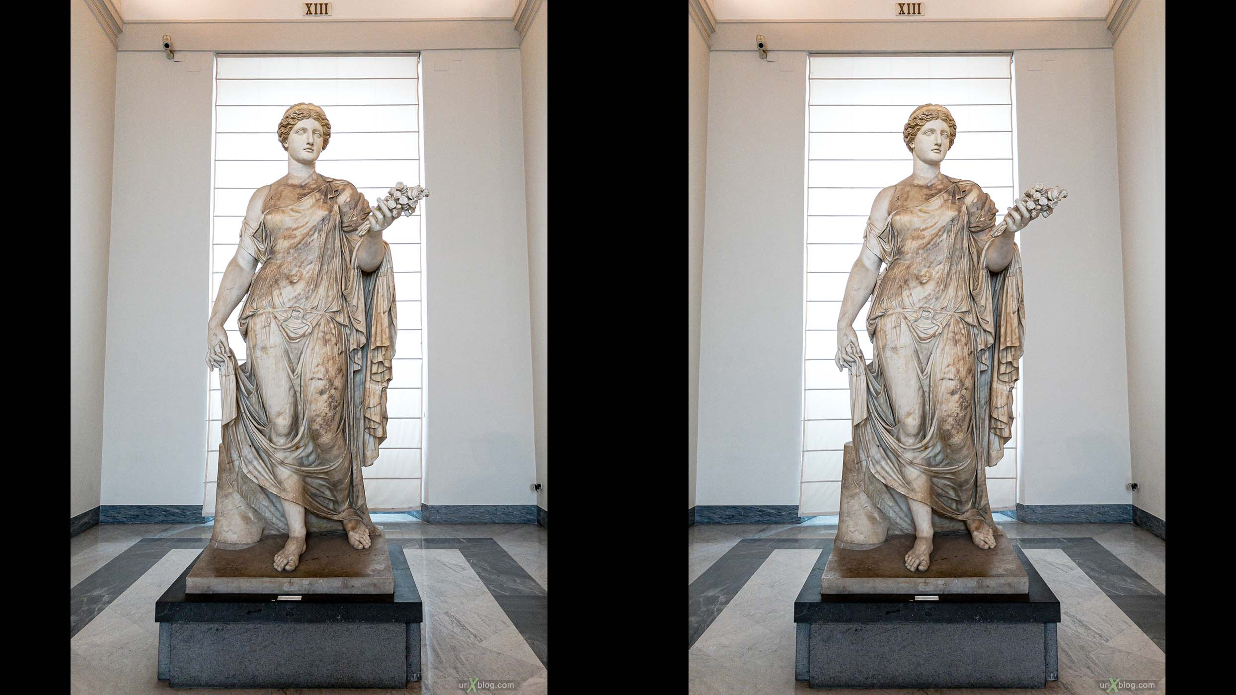 статуя, Национальный археологический музей Неаполя, Древний Рим, Помпеи, выставка, Неаполь, Италия, 3D, перекрёстная стереопара, стерео, стереопара