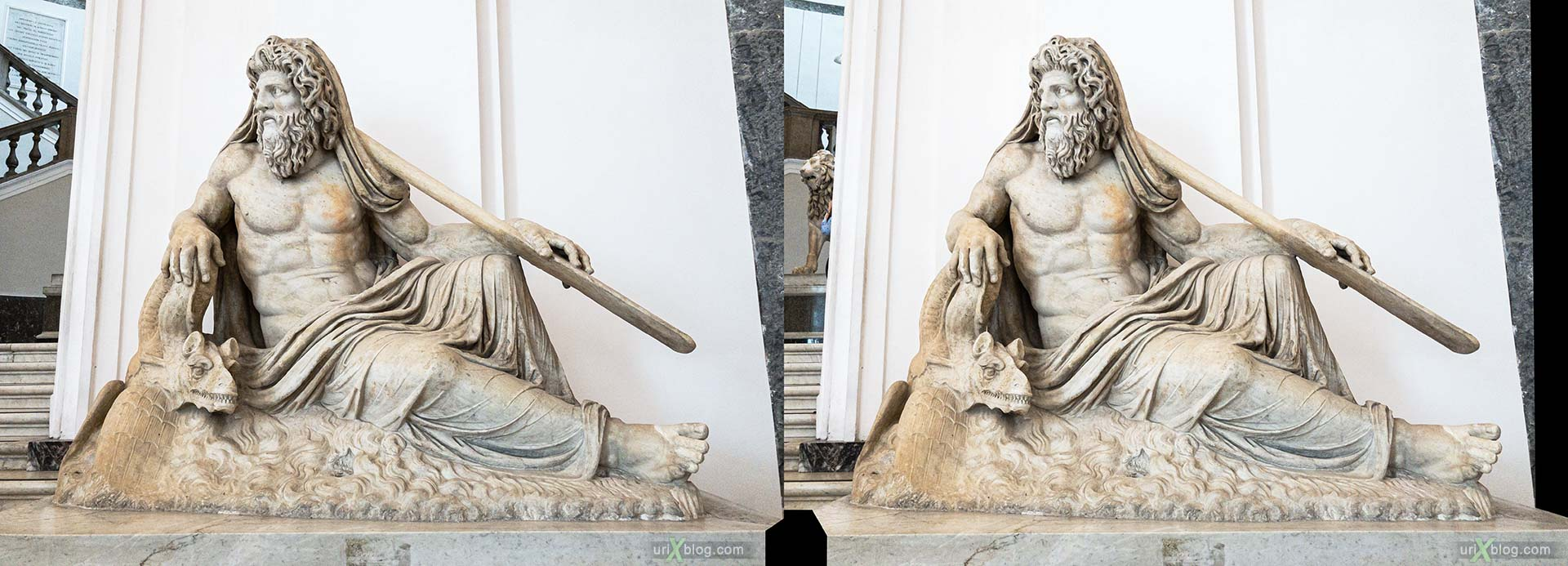 statue, National Archaeological Museum of Naples, ancient Rome, Pompei, exhibition, Naples, Italy, 3D, stereo pair, cross-eyed, crossview, cross view stereo pair, stereoscopic