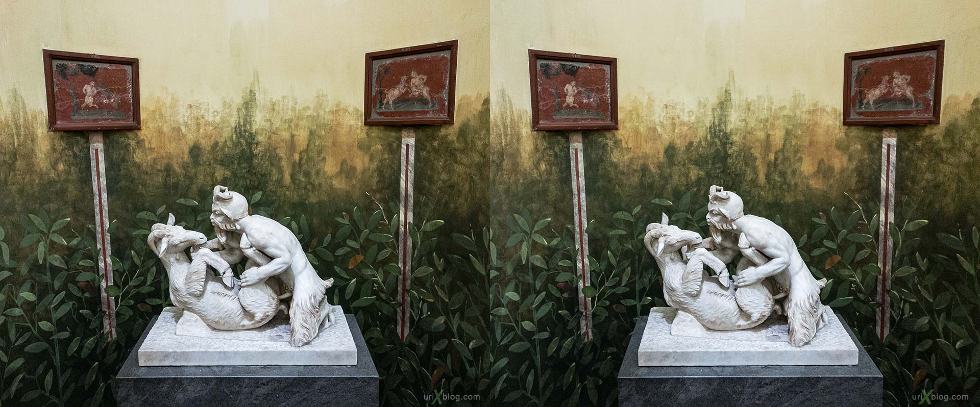 Secret cabinet, National Archaeological Museum of Naples, figurine, erotics, ancient Rome, Pompei, exhibition, Naples, Italy, 3D, stereo pair, cross-eyed, crossview, cross view stereo pair, stereoscopic