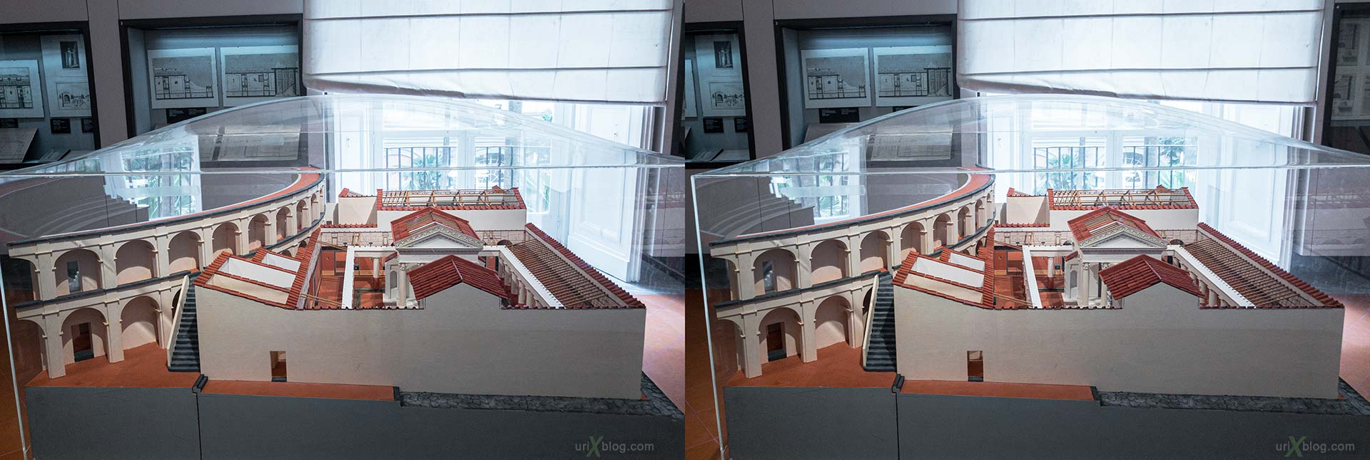 scale model, Tempio di Iside, Teatro Grande, National Archaeological Museum of Naples, ancient Rome, Pompei, exhibition, Naples, Italy, 3D, stereo pair, cross-eyed, crossview, cross view stereo pair, stereoscopic