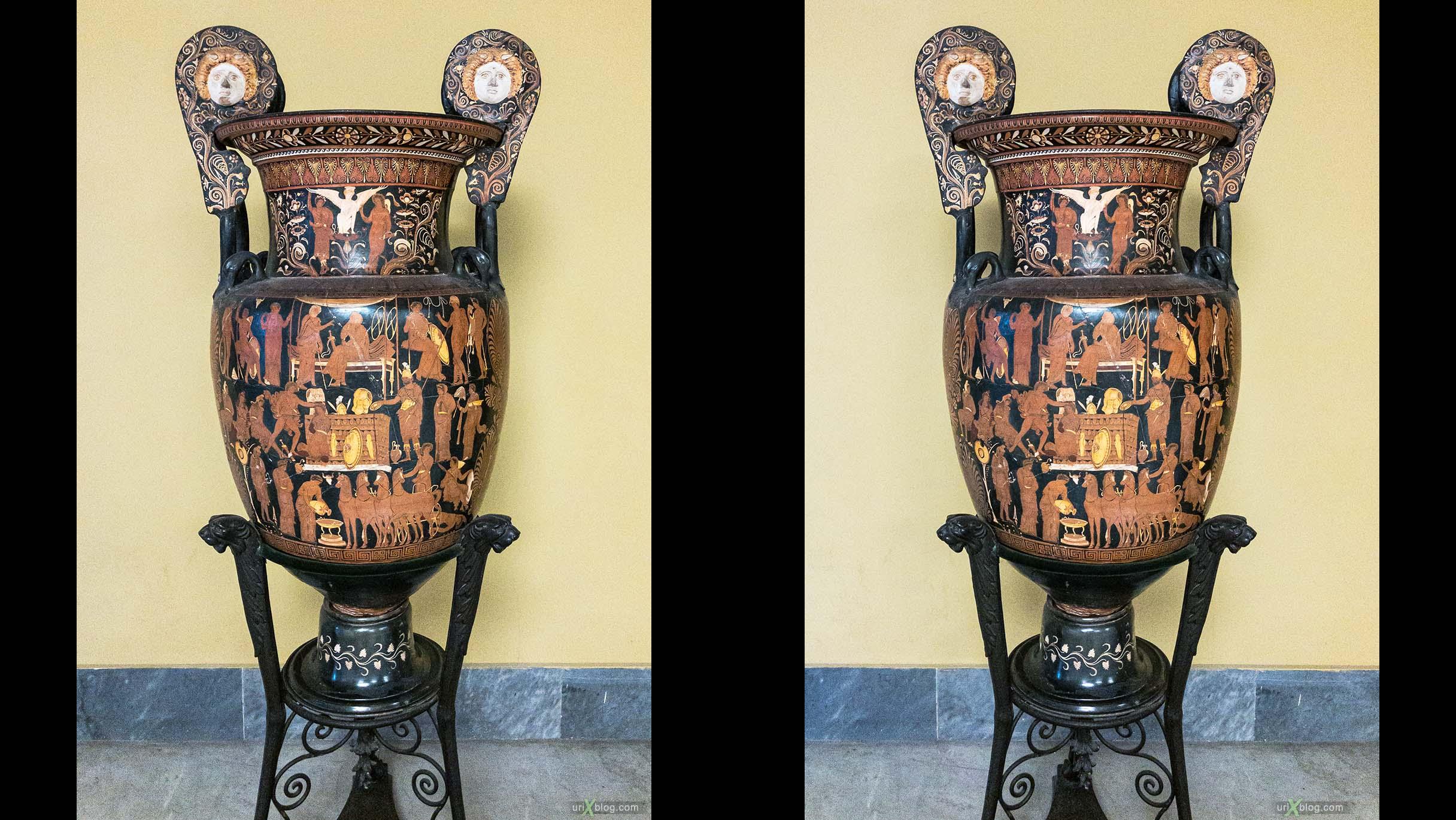 ваза, амфора, Национальный археологический музей Неаполя, Древний Рим, Помпеи, выставка, Неаполь, Италия, 3D, перекрёстная стереопара, стерео, стереопара