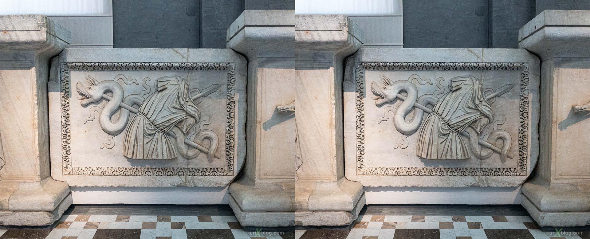 Национальный археологический музей Неаполя, Древний Рим, Помпеи, выставка, Неаполь, Италия, 3D, перекрёстная стереопара, стерео, стереопара