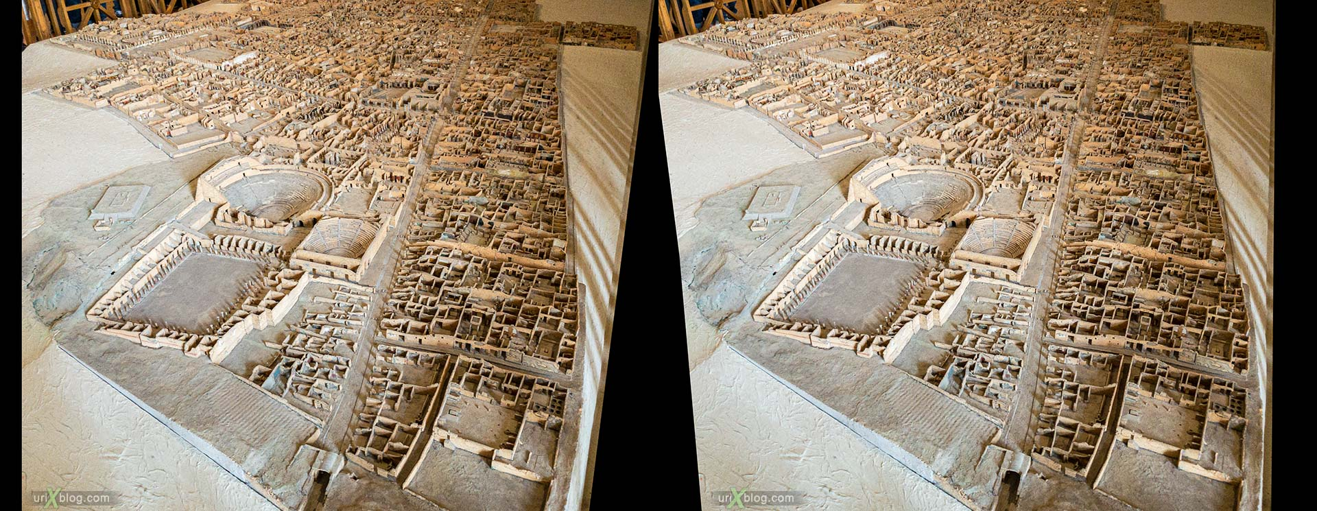 model, map, National Archaeological Museum of Naples, ancient Rome, Pompei, exhibition, Naples, Italy, 3D, stereo pair, cross-eyed, crossview, cross view stereo pair, stereoscopic