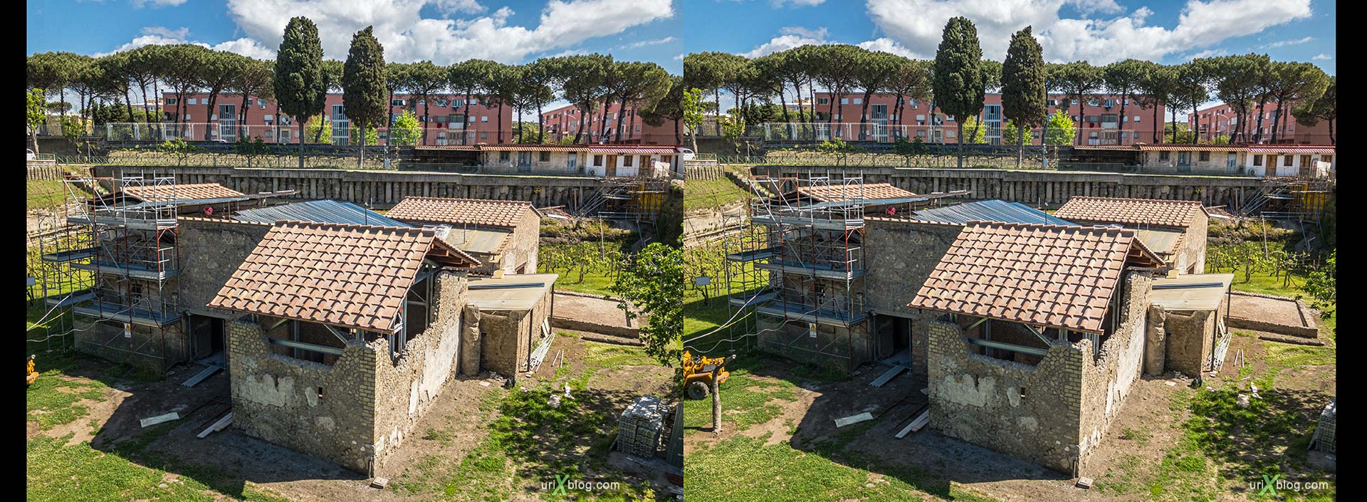 Museum, excavations, villa Regina, Boscoreale, Pompei, Italy, 3D, stereo pair, cross-eyed, crossview, cross view stereo pair, stereoscopic