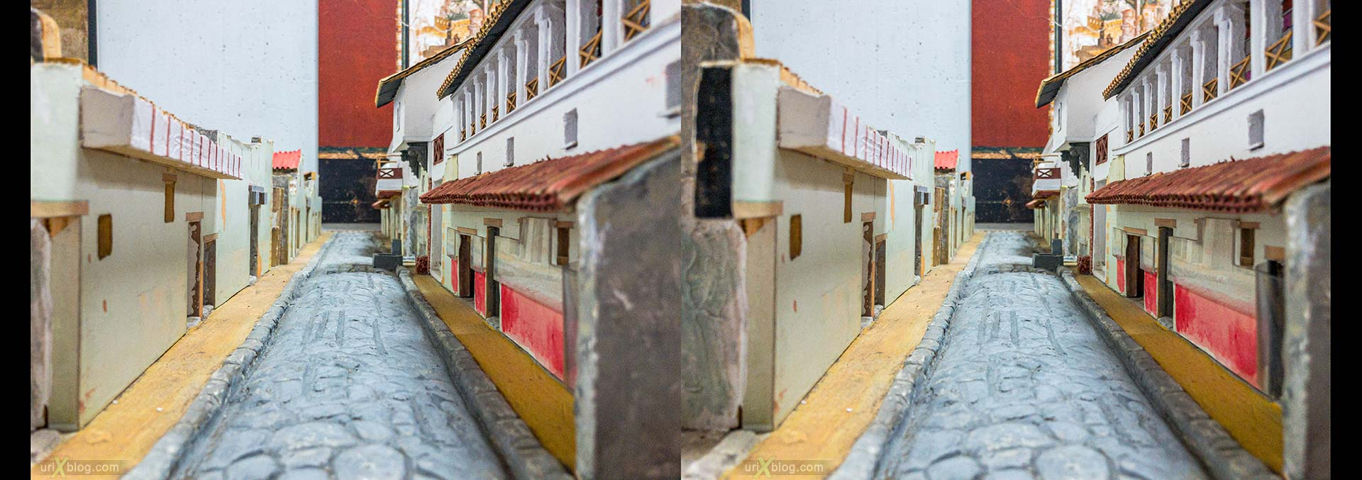 street, model, Museum, excavations, villa Regina, Boscoreale, Pompei, Italy, 3D, stereo pair, cross-eyed, crossview, cross view stereo pair, stereoscopic