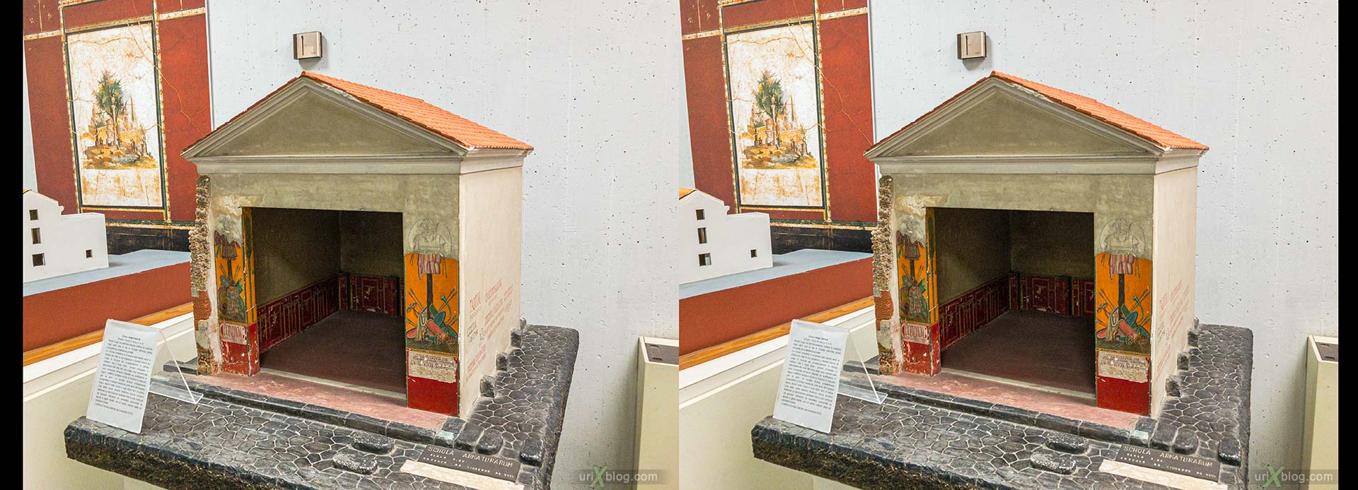 model, Museum, excavations, villa Regina, Boscoreale, Pompei, Italy, 3D, stereo pair, cross-eyed, crossview, cross view stereo pair, stereoscopic