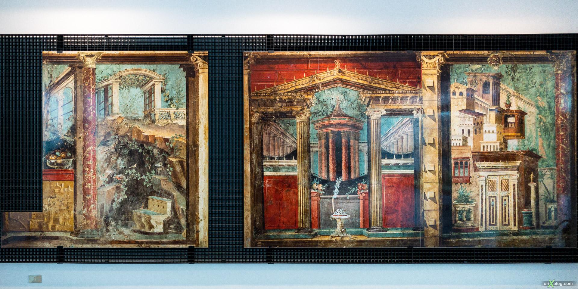 Музей, фрески, Боскореале, Помпеи, Италия, панорама