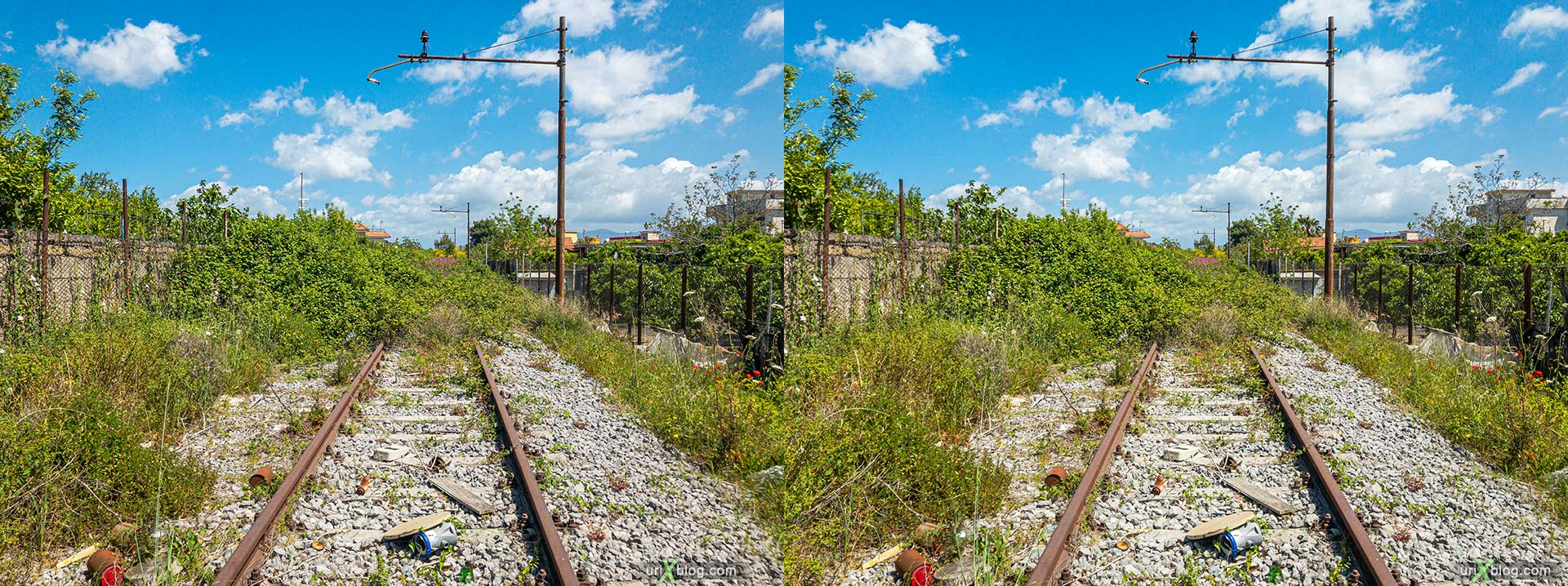 railway, Torre Annunziata, Italy, 3D, stereo pair, cross-eyed, crossview, cross view stereo pair, stereoscopic