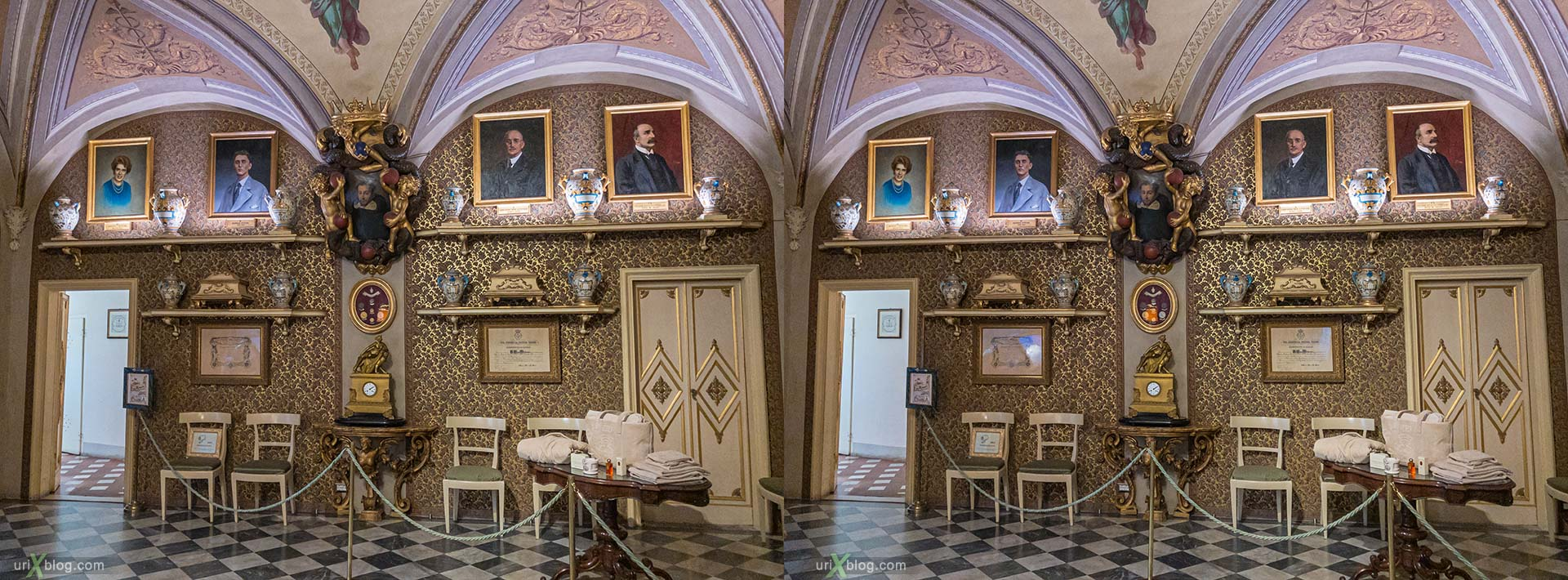Santa Maria Novella, pharmacy, Florence, Firenze, Italy, 3D, stereo pair, cross-eyed, crossview, cross view stereo pair, stereoscopic
