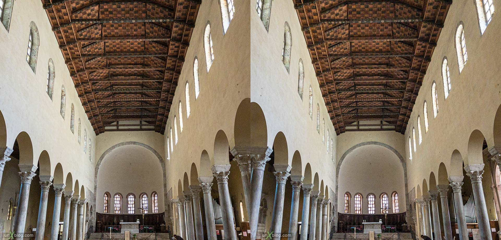Basilica of Saint Francis, Ravenna, Italy, 3D, stereo pair, cross-eyed, crossview, cross view stereo pair, stereoscopic