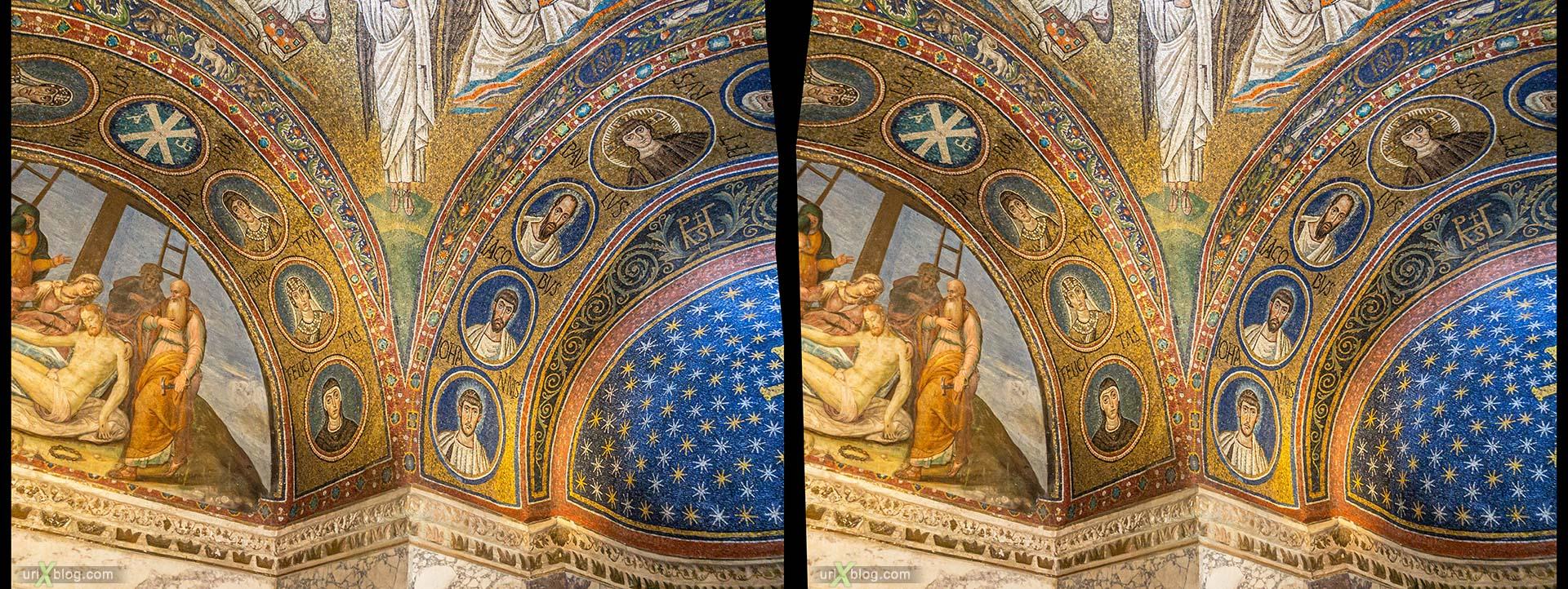 Архиепископская часовня Святого Андрея, мозаика, Равенна, Италия, 3D, перекрёстная стереопара, стерео, стереопара