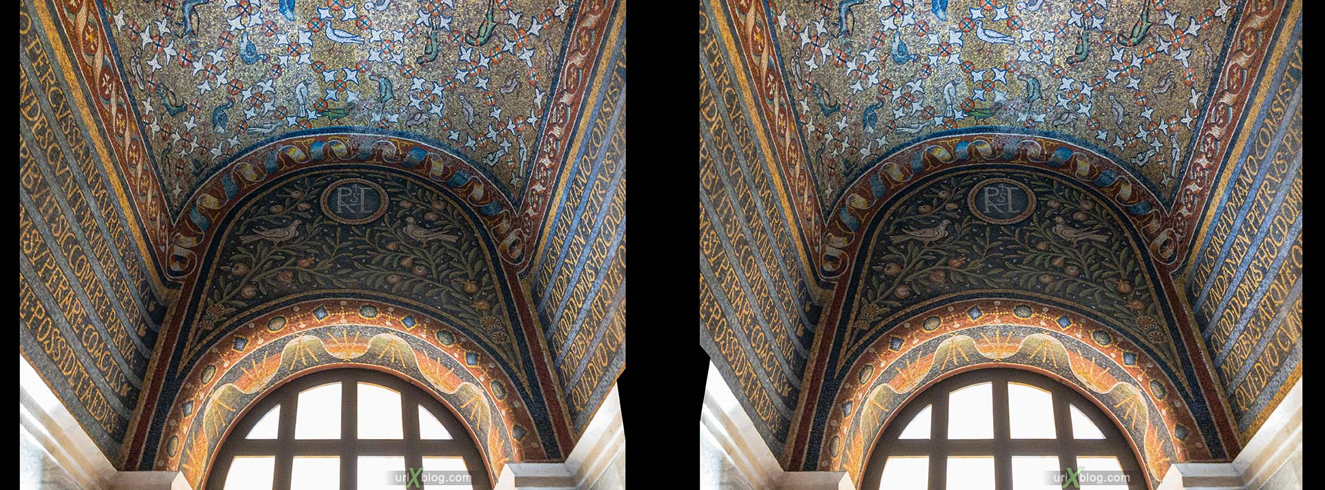 Archiepiscopal Chapel, mosaic, Ravenna, Italy, 3D, stereo pair, cross-eyed, crossview, cross view stereo pair, stereoscopic
