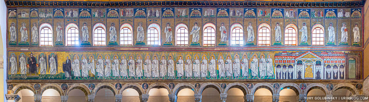 mosaic, panorama, Basilica di Sant'Apollinare Nuovo in Ravenna, Italy, Ancient Rome, christianity, Arianism, 5th century AD, ostrogoths, 2019