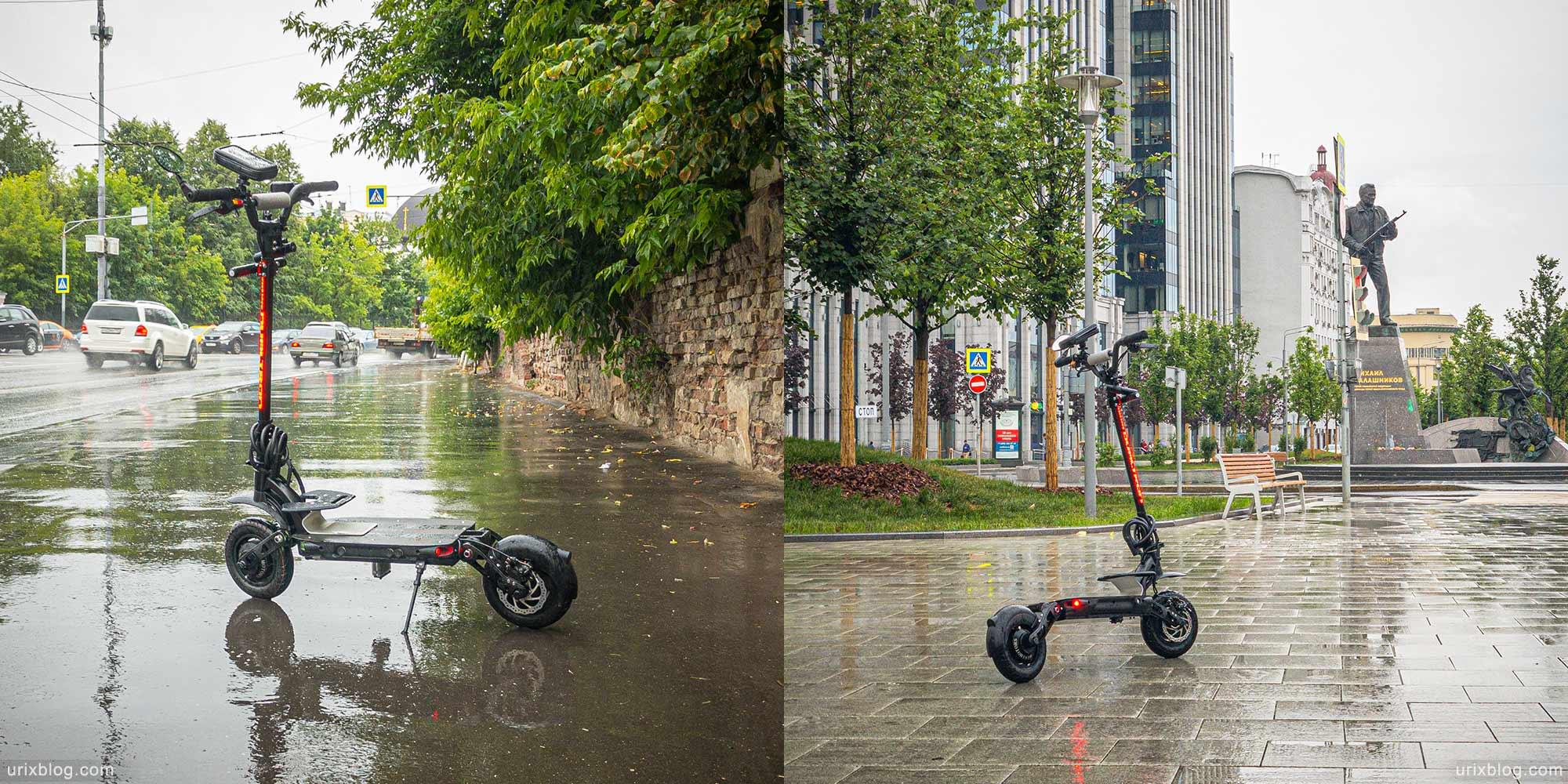 Dualtron Spider, minimotors, самокат, электросамокат, лужи, дождь, влагозащита, вода, Москва, Россия