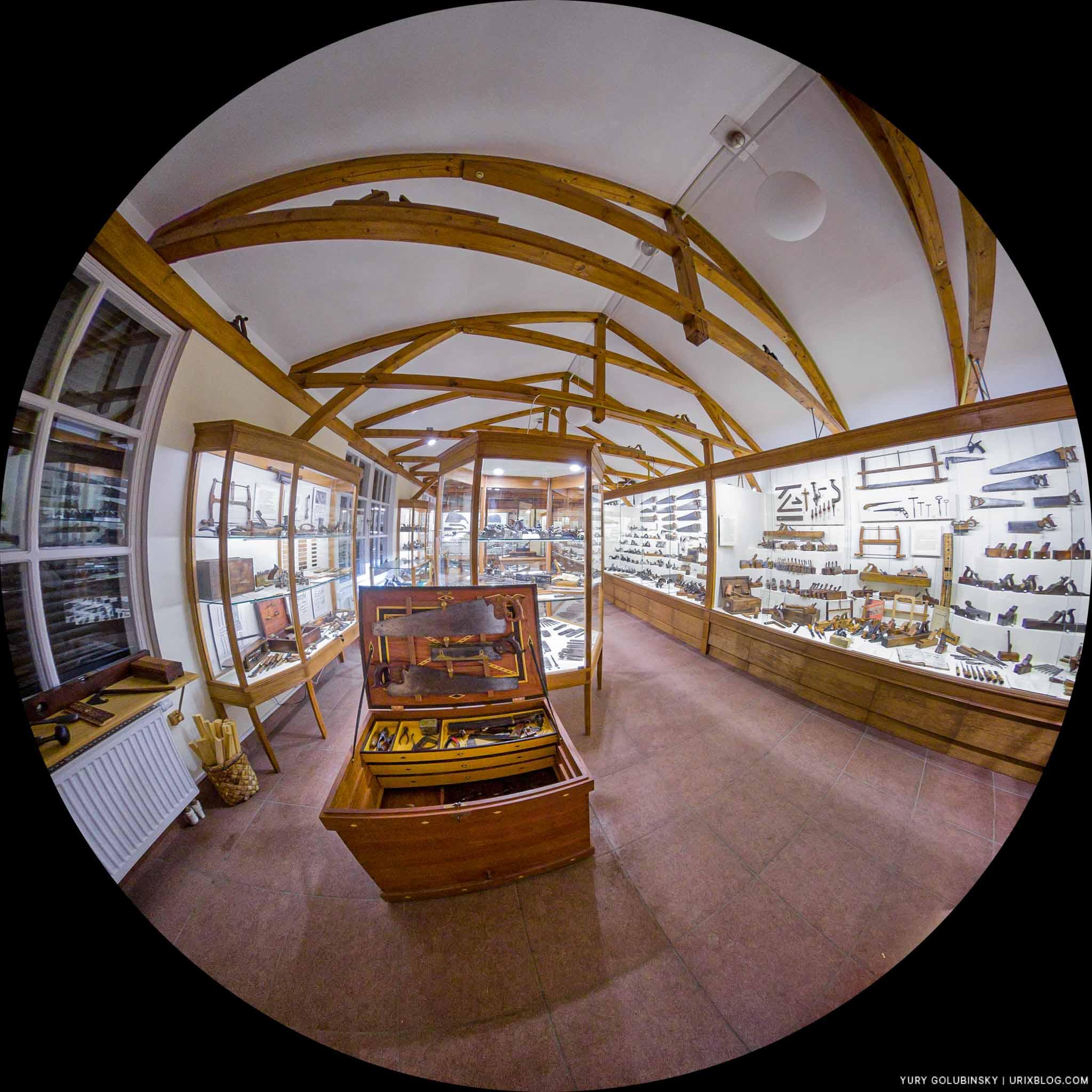 Museum of carpentry tools, Pushkino, Moscow oblast, Russia, museum, carpentry tools, showcase, fisheye, panorama, Insta360 One X, 2019