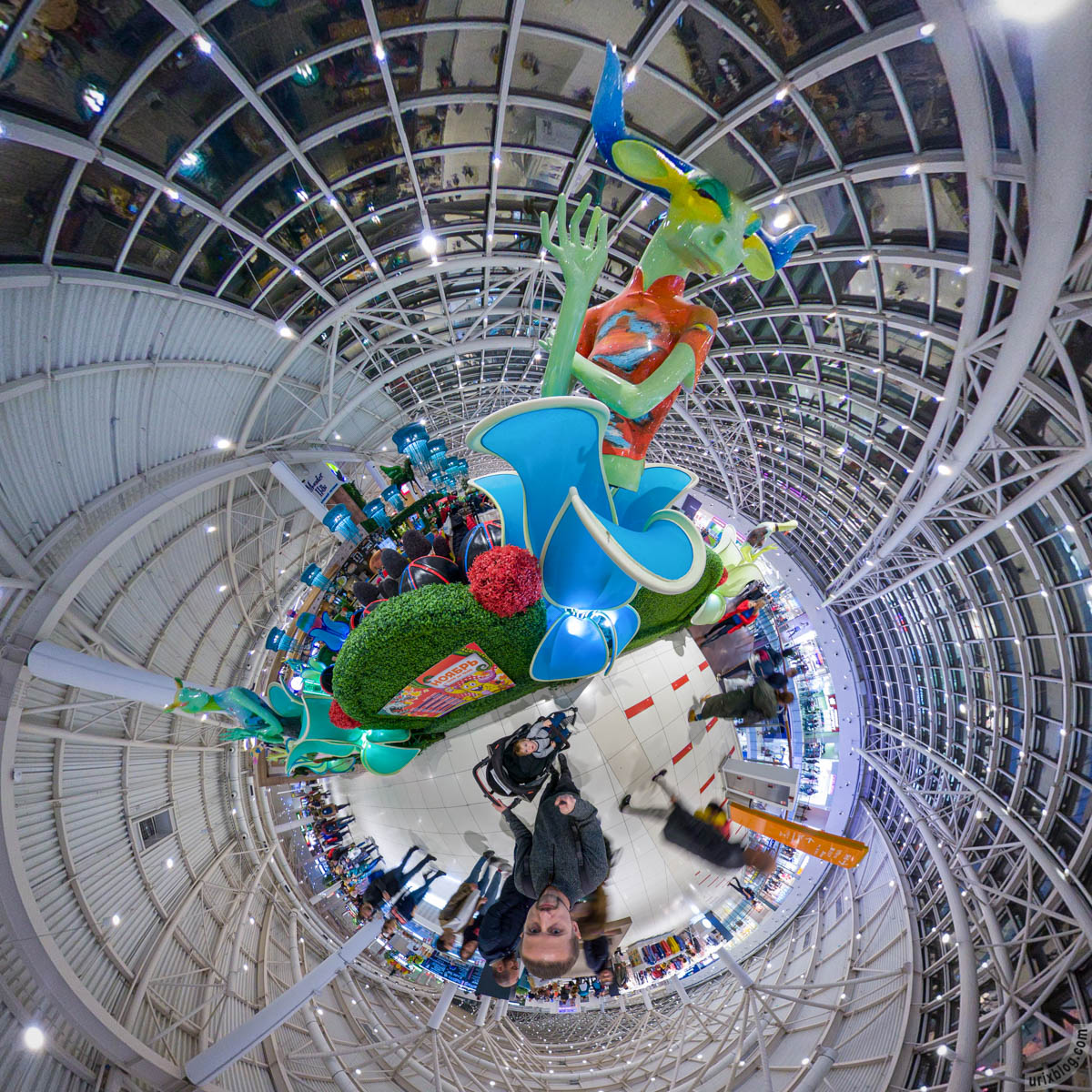 Monsterhills restaurant, Aviapark, aquarium, Moscow, Russia, fisheye, panorama, Insta360 One X, 2019