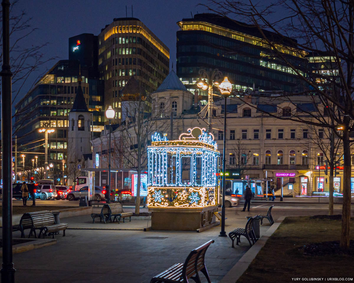 Belorusskaya square, tram, New Year, Moscow, Russia, 2019