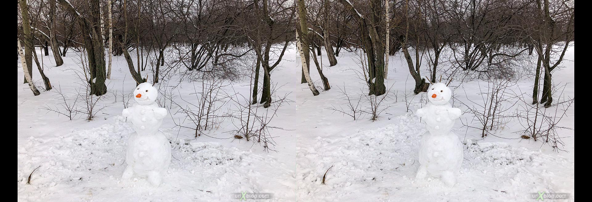 snowman, Kolomenskoye park, winter, snow, Russia, 3D, stereo pair, cross-eyed, crossview, cross view stereo pair, stereoscopic
