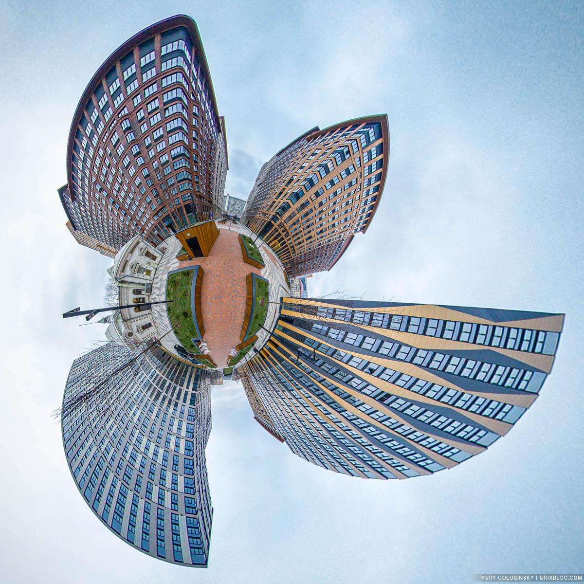 Parisienne restaurant, Tsarskaya Ploshchad, little planet, tiny planet, panorama, Moscow, Russia, 2020