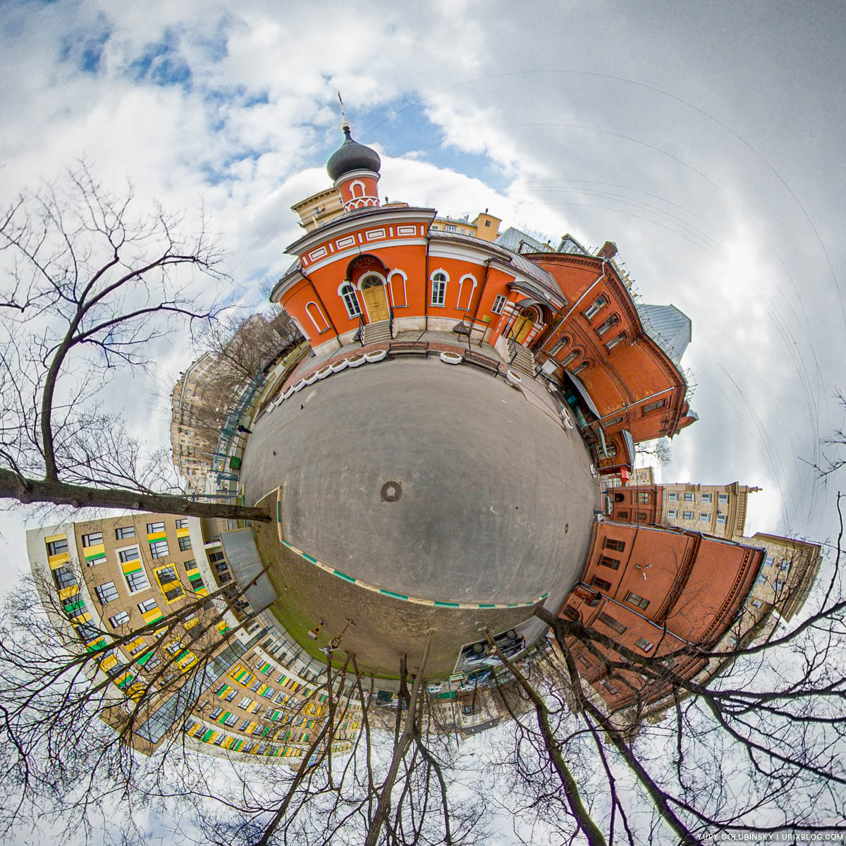 Church, polyclinic, hospital, littple planet, tiny planet, panorama, Moscow, Russia, 2020