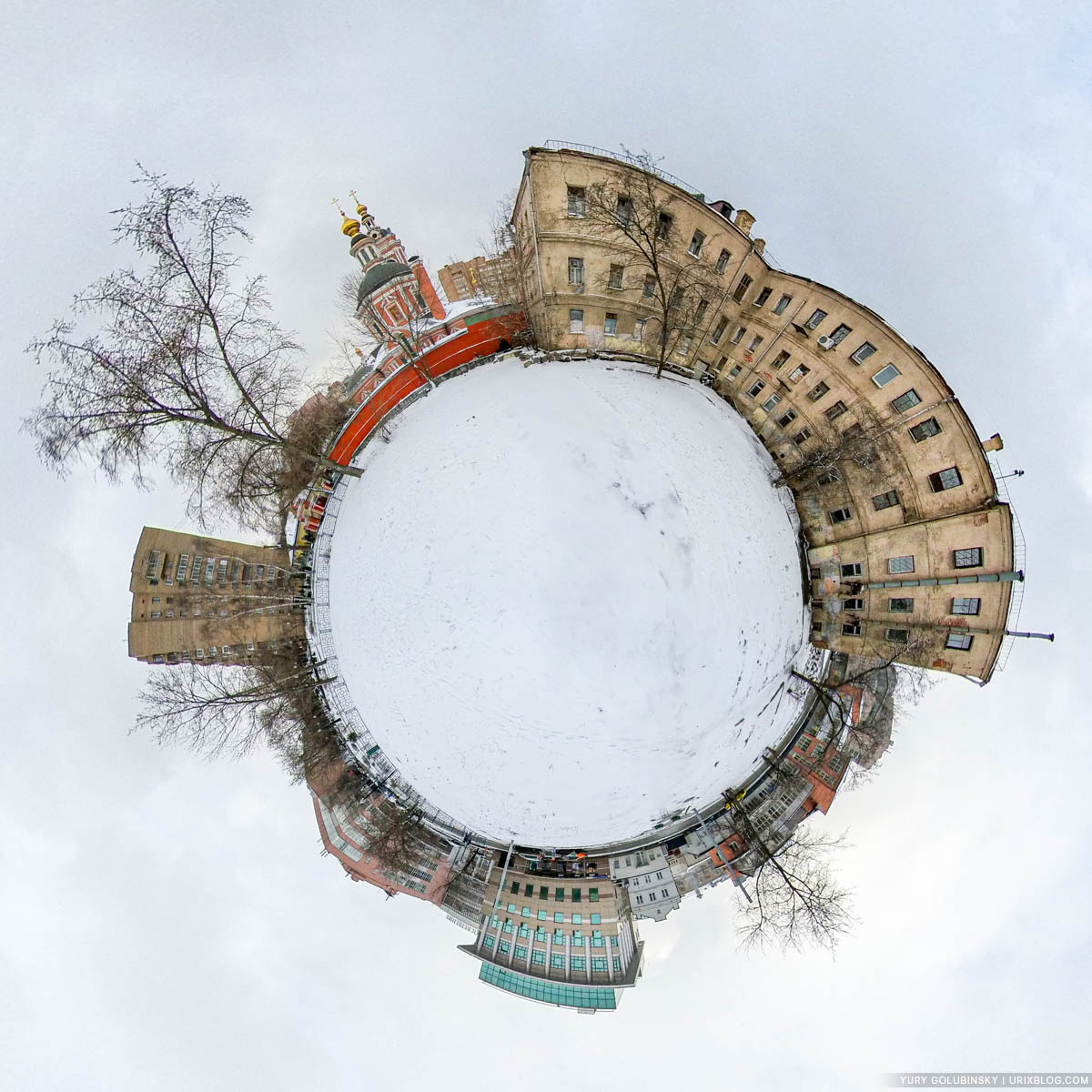 Pimen the Great church in New Vorotniki, panorama, little planet, tiny planet, wasteland, abandoned building, Moscow, Russia, 2020