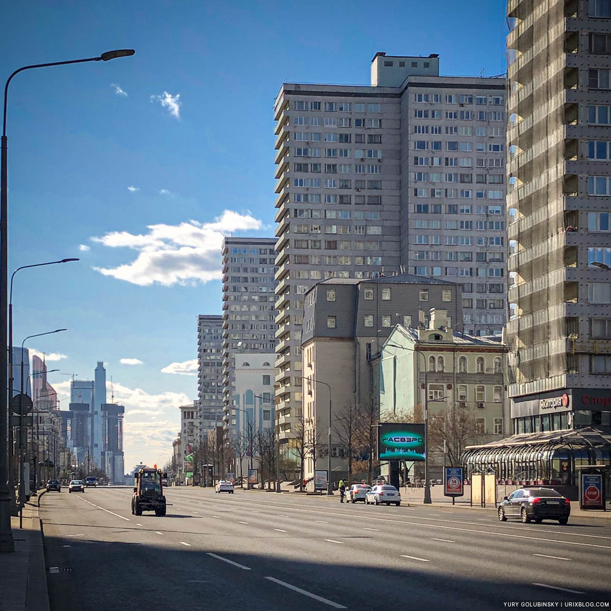 New Arbat street, empty streets, quarantine, self-isolation, Moscow, Russia