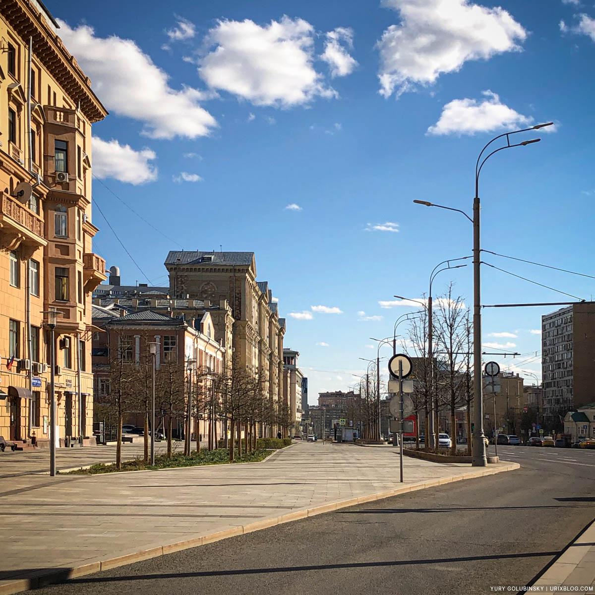 Садовое кольцо, пустые улицы, карантин, самоизоляция, Москва, Россия