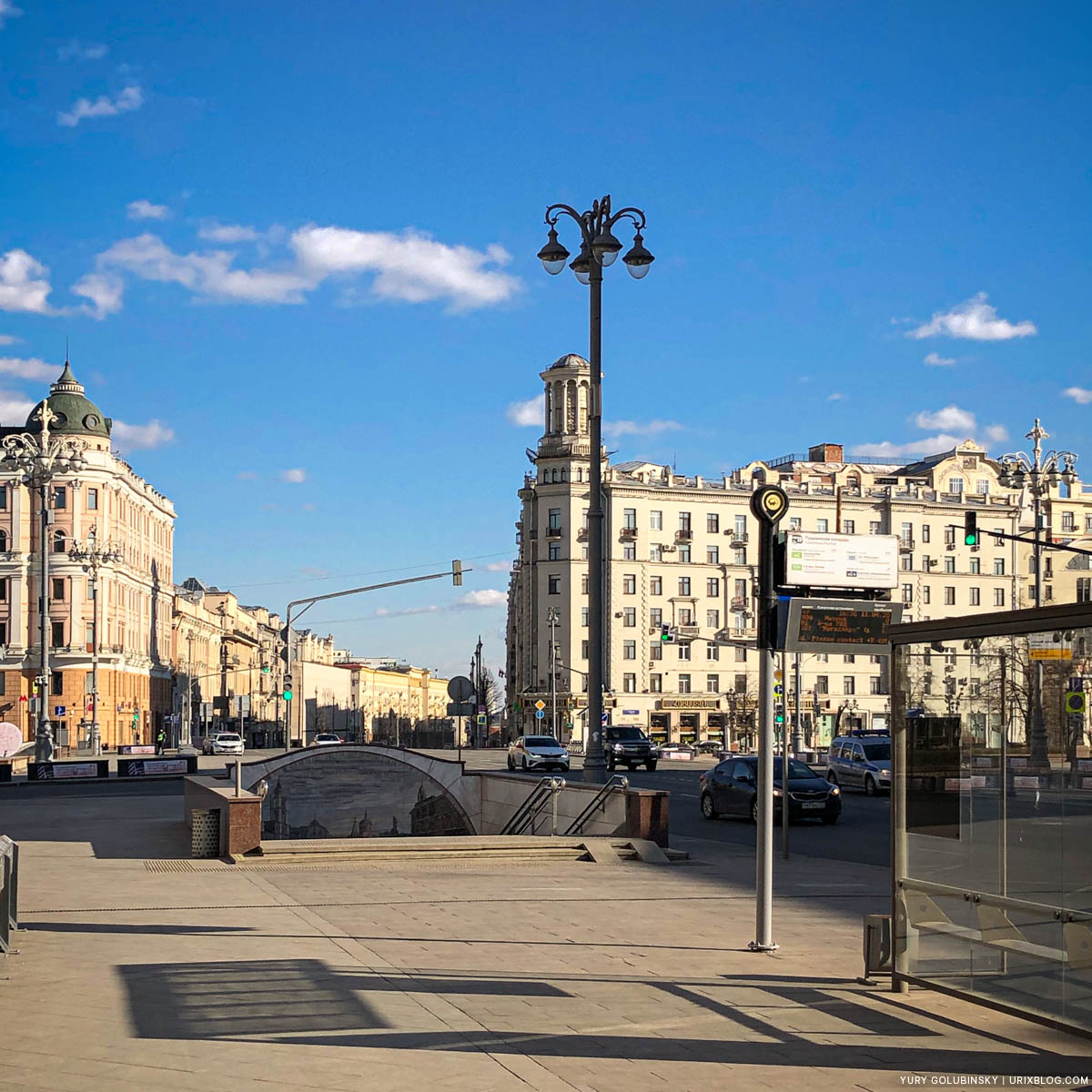Pushkinskaya, empty streets, quarantine, self-isolation, Moscow, Russia